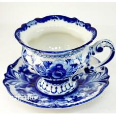Гжель Чашка чайная с блюдцем