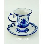 Гжель Чашка кофейная с блюдцем
